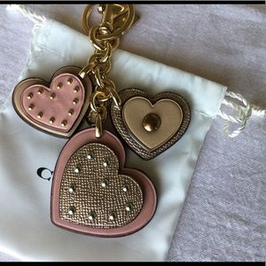 Coach Hearts leather bag charm